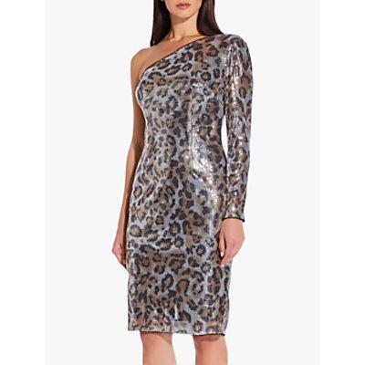 Adrianna Papell Animal Embellished One Shoulder Dress, Beige/Black