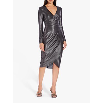 Adrianna Papell Metallic Wrap Dress, Black/Gunmetal