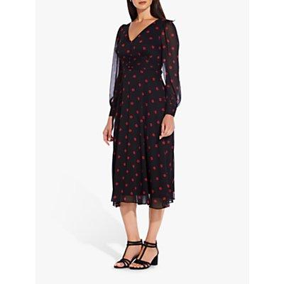 Adrianna Papell Daisy Dot Midi Dress, Black/Red