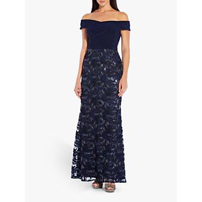 Adrianna Papell Soutache Long Dress, Midnight