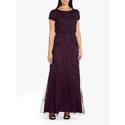 Adrianna Papell Beaded Long Dress, Night Plum