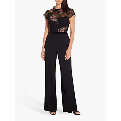 Adrianna Papell Rose Embroidery Jumpsuit, Black Multi