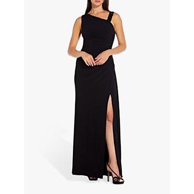 Adrianna Papell Bead Embellished Asymmetric Dress, Black