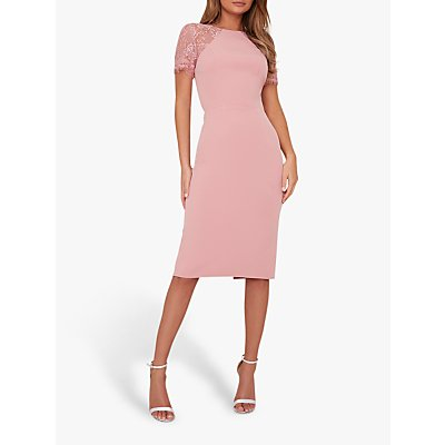 Chi Chi London Shannon Lace Sleeve Dress, Pink