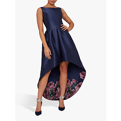 Chi Chi London Dani High Low Floral Dress, Navy