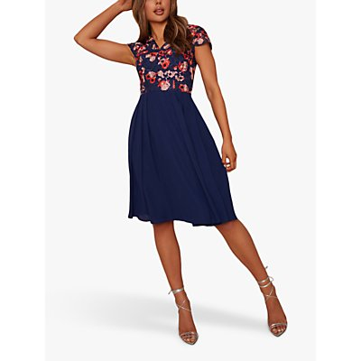 Chi Chi London Bryanna Embroidered Dress, Nude