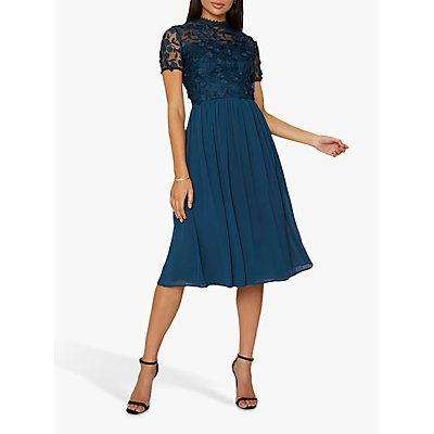 Chi Chi London Veronica Floral Design Dress, Teal