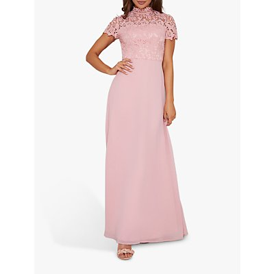 Chi Chi London Rozie Crochet Dress, Mink