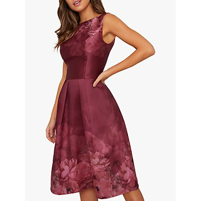 Chi Chi London Sady Floral Dress, Burgundy