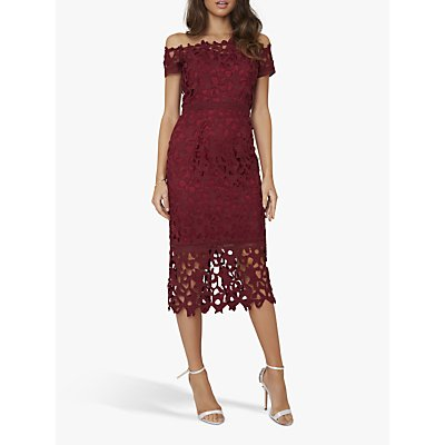 Chi Chi London Anna Crochet Dress, Burgundy
