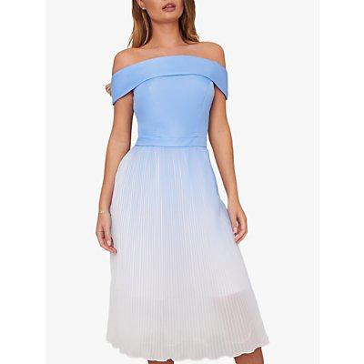 Chi Chi London Mireya Bardot Pleated Dress, Blue