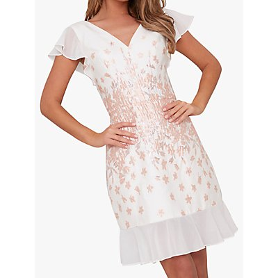 Chi Chi London Nelley Metallic Embroidered Dress, White