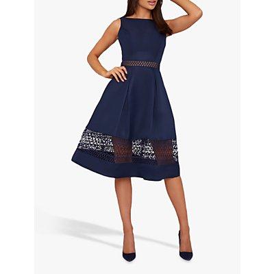 Chi Chi London Delia Crochet Panel Dress, Navy