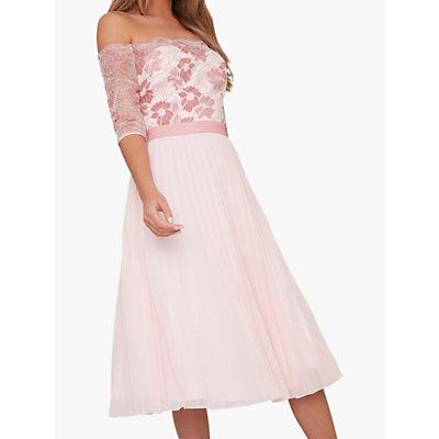 Chi Chi London Selda Lace Bardot Dress, Pink