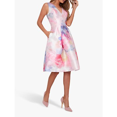 Chi Chi London Ohanna Floral Flared Dress, Pink