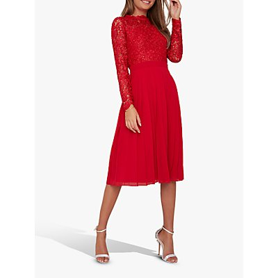 Chi Chi London Naarah Lace Dress, Red