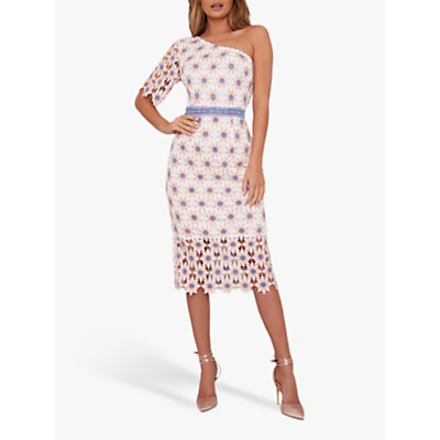 Chi Chi London Winona One Shoulder Dress, White