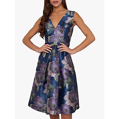 Chi Chi London James Floral Dress, Navy