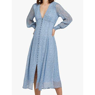 Ghost Adorlee Stamp Ditsy Print Midi Dress, Pale Blue
