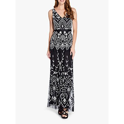 Adrianna Papell Long Beaded Dress, Black/Ivory
