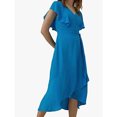 Karen Millen Button Front Midi Dress, Blue