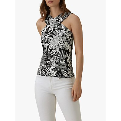 Karen Millen Halter Neck Tropical Print Top, Black/White