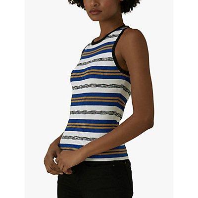 Karen Millen Striped Ribbed Vest, Blue/Multi