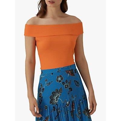 Karen Millen Stretch Bardot Top, Orange