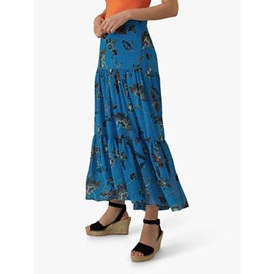 Karen Millen Floral Midi Skirt, Blue