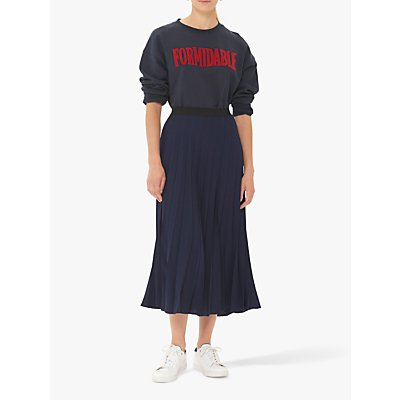 Gerard Darel Tulia Pleated Midi Skirt, Navy