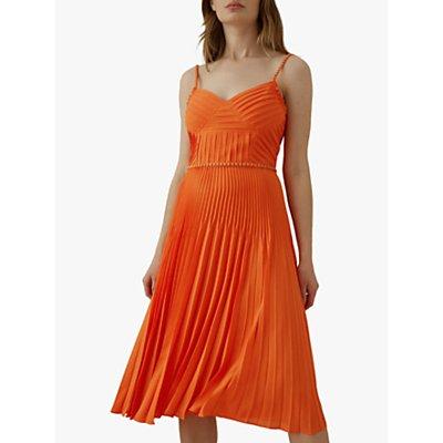 Karen Millen Chain Detail Pleat Dress, Orange