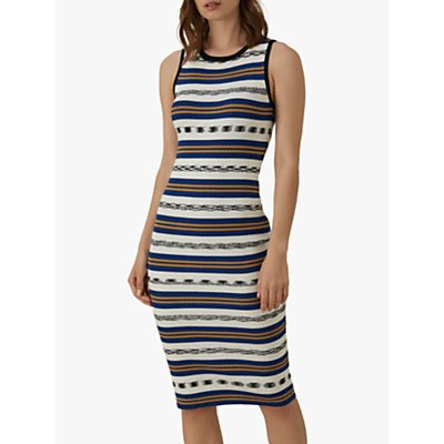 Karen Millen Stripe Ribbed Dress, Blue/Multi