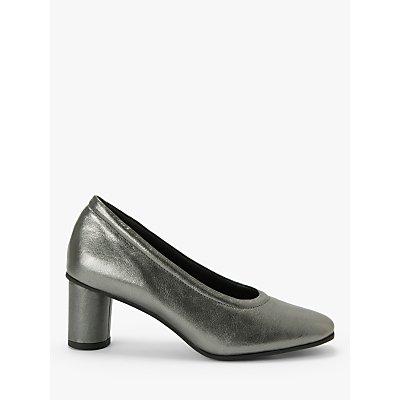 Kin Alisha Leather Cylindrical Heel Court Shoes, Silver