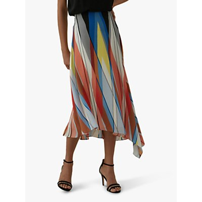 Karen Millen Striped Silk Midi Skirt, Multi