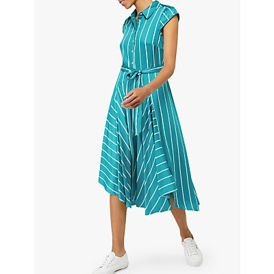 Monsoon Dallas Stripe Shirt Dress, Teal