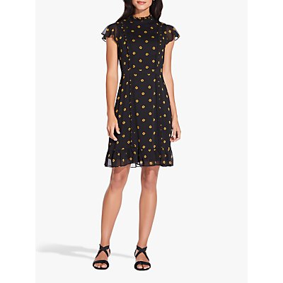Adrianna Papell Daisy Dot Dress, Yellow/Black