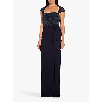 Adrianna Papell Beaded Square Neck Dress, Midnight