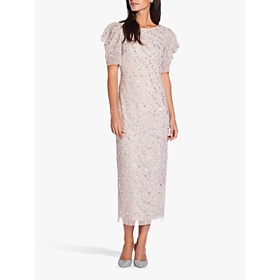 Adrianna Papell Beaded Ankle Length Dress, Almond Cream