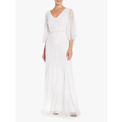 Adrianna Papell Romantic Bead Dress, Ivory