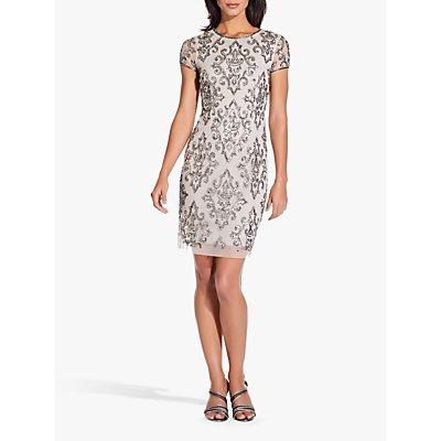 Adrianna Papell Short Fully Beaded Dress, Silver