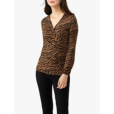 Pure Collection Animal Print Jersey Wrap Top, Multi
