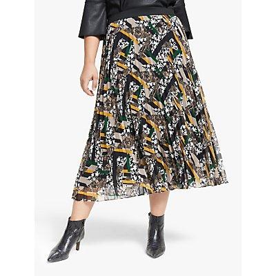 Persona by Marina Rinaldi Printed Pleat Skirt, Black/Multi