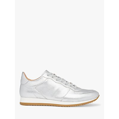 L.K.Bennett Ricky Leather Lace Up Trainers, Silver