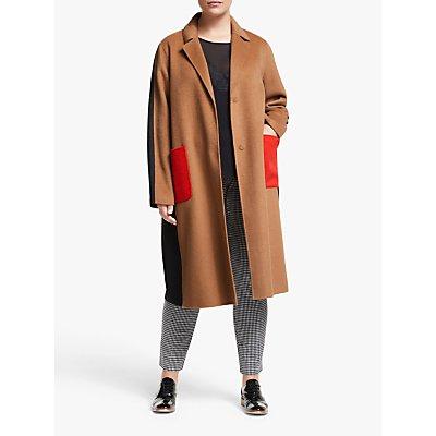 Persona by Marina Rinaldi Colour Block Coat, Camel/Black