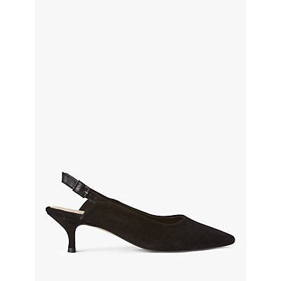 SHOE THE BEAR Hayden Suede Slingback Court Shoes, Black