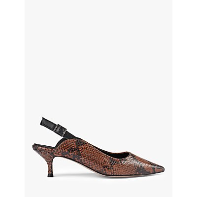 SHOE THE BEAR Hayden Leather Slingback Court Shoes, Snake Brown