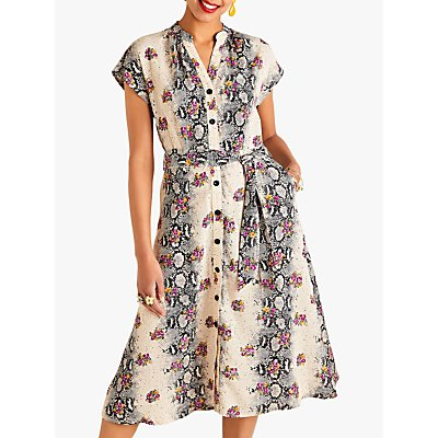 Yumi Animal Floral Contrast Dress, Beige