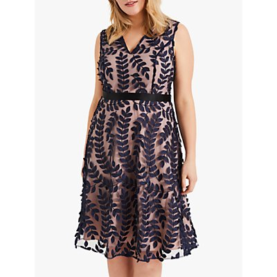 Studio 8 Evie Leaf Dress, Navy/Blush