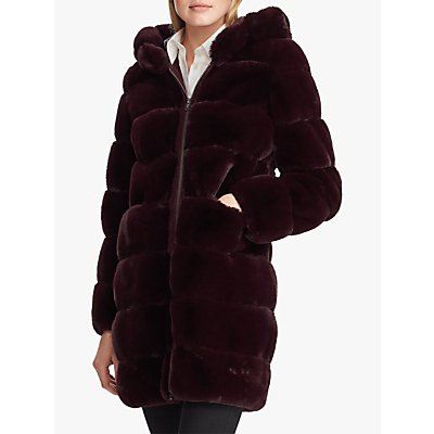 Lauren Ralph Lauren Faux Fur Hooded Jacket, Burgundy