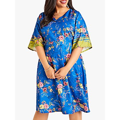 Yumi Curves Flower Kimono Dress, Blue